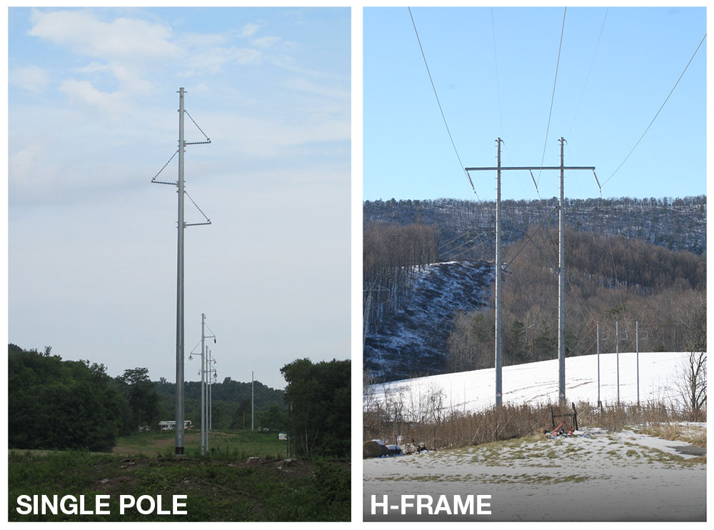 H Frame Transmission Power Pole : Lamping rouse kv transmission line project